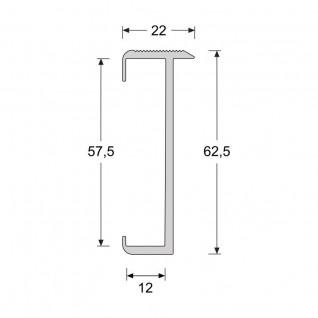 Trapproffiel  60 mm tbv laminaat 7-9,5 mm zilver (3 meter)