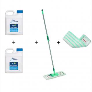 Leifheit Profi Micro Duo XL vloerwisser, 2 stuks Blue Dolphin Multi Cleaner en 2 stuks Micro Duo Doek